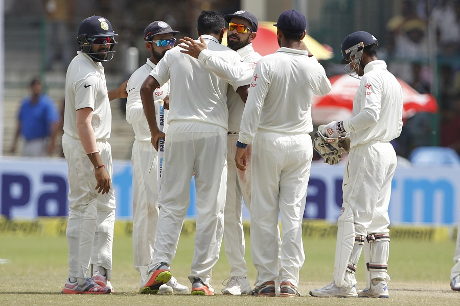 India Team players celebrates his win against New Zealand during day 5 of the first test match between India and New Zealand held at the Green Park stadium on the 26th September 2016. Photo by: Deepak Malik/ BCCI/ SPORTZPICS