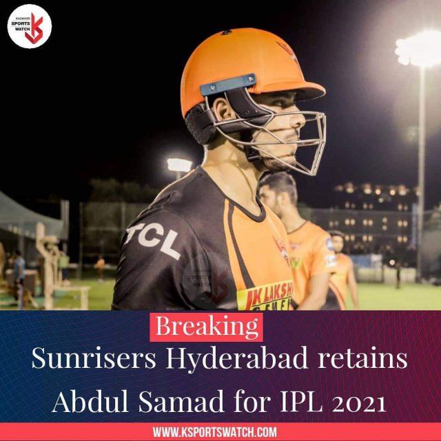 IPL 2021: Sunrisers Hyderabad retain J&K cricketer Abdul Samad. Pic/Graphics