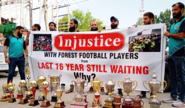NIFF concerned over non-regularisation of J&K Forest footballers. File pic Forest Players Protesting in Srinagar .