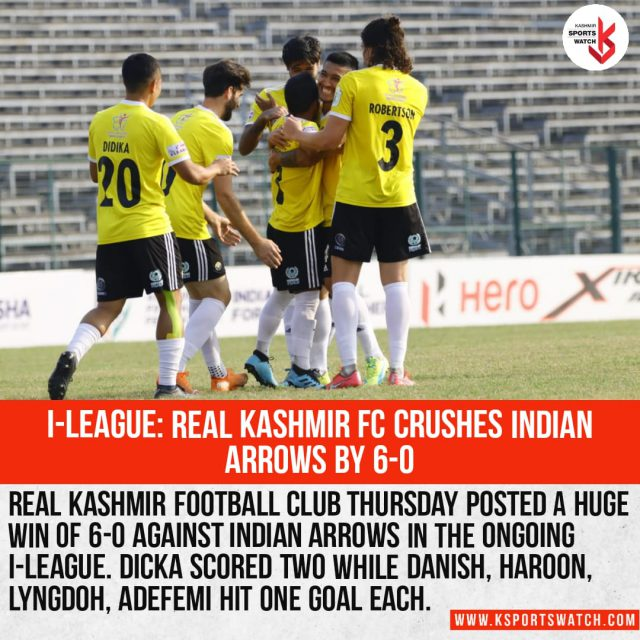 Real Kashmir FC put six past Indian Arrows in I-League . Pic/ Graphics KSW