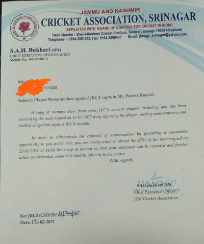 Allegations Against Parvez Rasool: JKCA to record statement of complaining cricketers