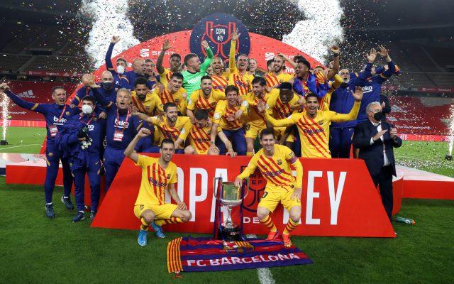 Lionel Messi scores brace as Barcelona lift Copa del Rey title. Pic/Barcelona Twitter