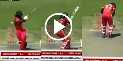 Watch: Pakistan's debutant Arshad Iqbal breaks batsman's helmet with a boucner
