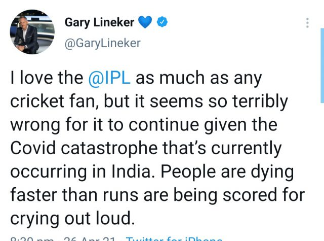 Love IPL but terribly wrong to continue it amid COVID catastrophe, says English football great Gary Linekar. Pic/Screenshot Twitter