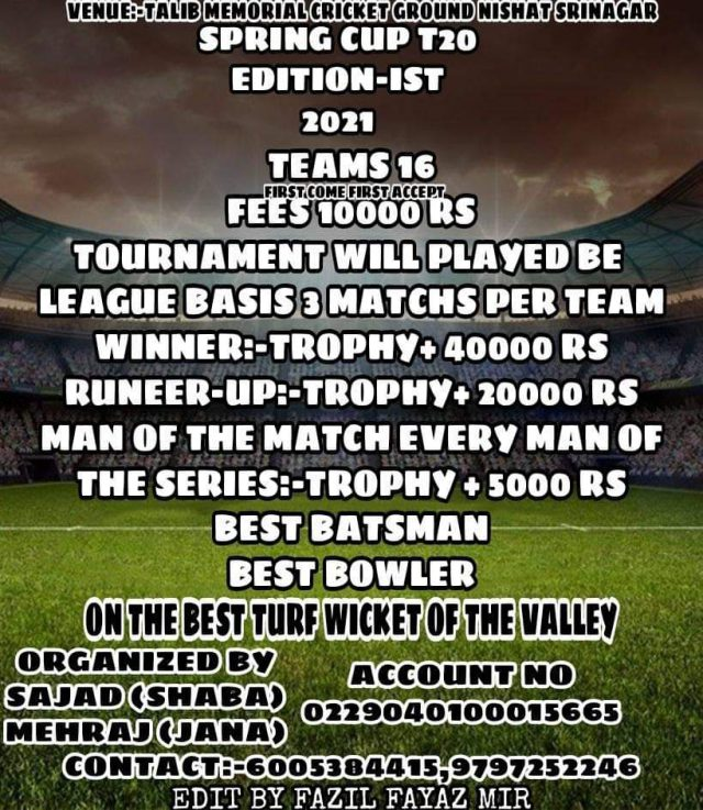 Spring Cup T20 coming up at Nishat. Pic/Graphics