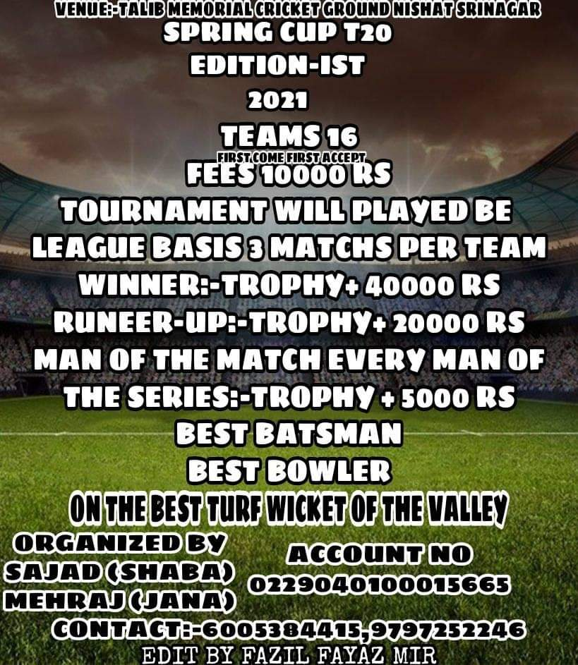 Spring Cup T20 coming up at Nishat