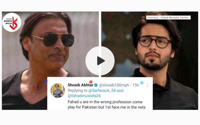 Shoaib Akhtar challenges actor Fahad Mustafa to face him. Pic/Twitter/Graphics
