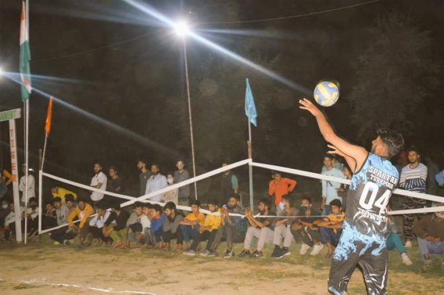 Indian Army organises inter-village night Volleyball tourney in Zachaldara. Pic/Indian Army
