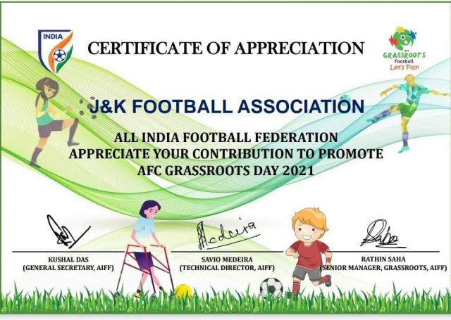 AIFF appreciates JKFA grassroot efforts. Pic/Certificate