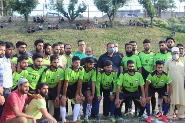 Zamir Thakur inaugurates Barzulla Knockout football tourney. Pic/JKFA