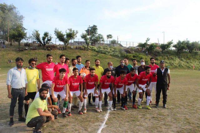 Zamir Thakur inaugurates Barzulla Knockout football tourney. Pic/ JKFA