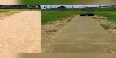 In Charar-I-Sharief locals develop turf wicket on thier own