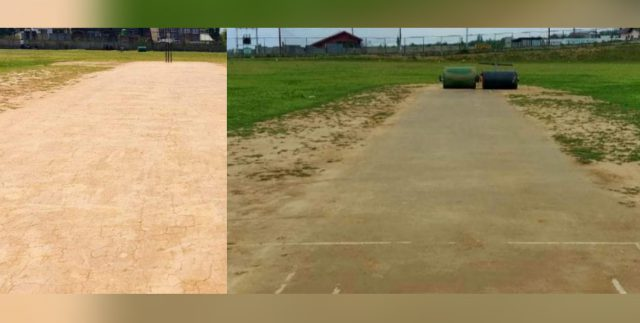 In Charar-I-Sharief locals develop turf wicket on thier own. Pic/KSW