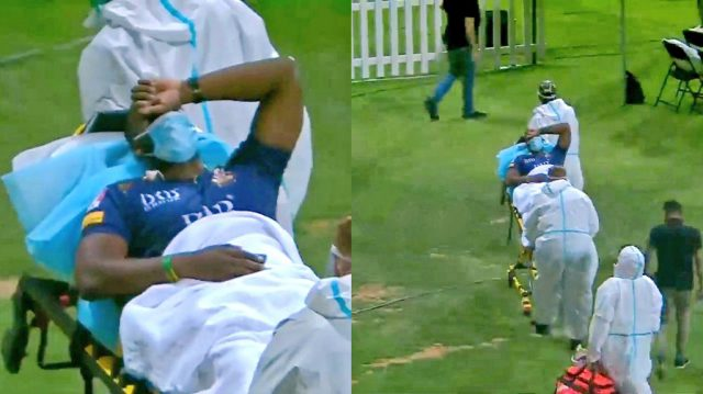 Andre Russell taken to hospital in ambulance after being hit by a bouncer in PSL match. Pic/Twitter Screengrab