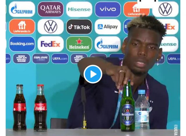 Euro 2020: After Ronaldo, Paul Pogba now removes Beer bottle during press conference. Pic/Screengrab