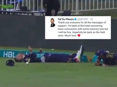 Have concussion with some memory loss but I will be fine, says Faf du Plessis
