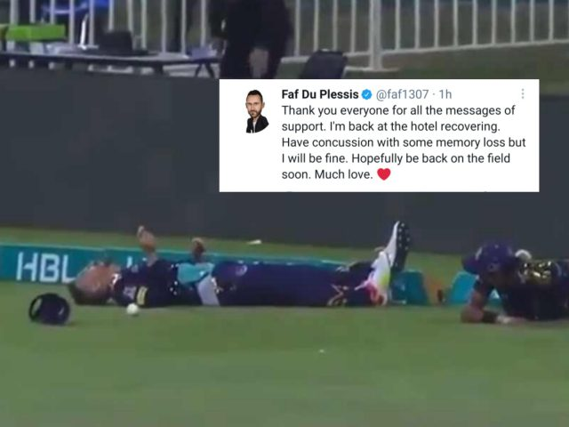 Have concussion with some memory loss but I will be fine, says Faf du Plessis. Pic/Screengrab/Graphics