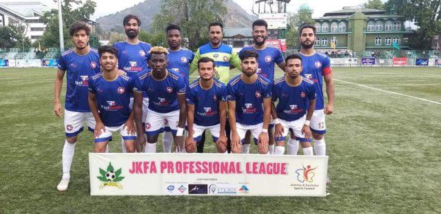 JKFA Professional League: Hyderya Sports beat Shaheen FC Jammu. Pic/KSW