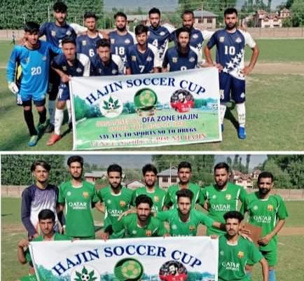 Hajin Soccer Cup: Seven Star FC Srinagar beat JFC Bathipora. Pic/KSW