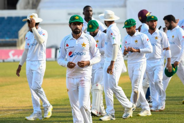 Babar Azam and Pakista look dejected after Roach, Seales inspire West Indies in last-wicket thriller. Pic/ICC