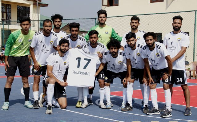 Futsal Tourney: Ruthless Real Kashmir FC crush Hyderya FC by 10-2 on way to final. Pic/KSW