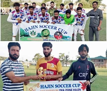 Hajin Soccer Cup: Chinar FC Kulgam, FFC Hygam enter next round. Pic/KSW