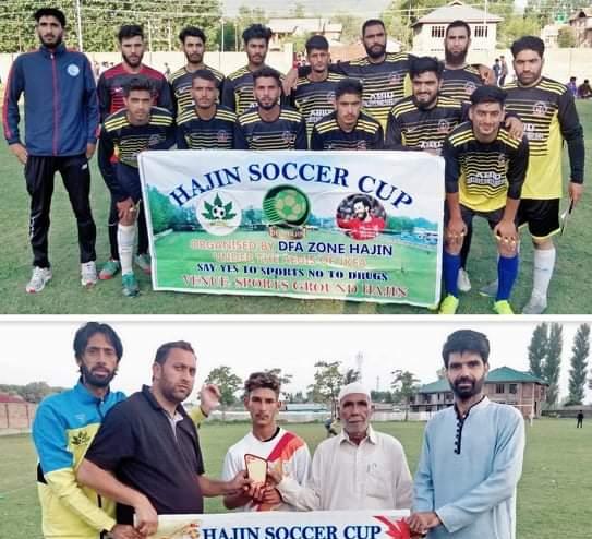 Hajin Soccer Cup: Alamdar Sr Goshbugh beat SFC Humray. Pic/KSW