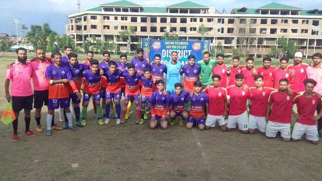 Anantnag Knockout Tourney: Jehlum FC beat Khumanei FC. Pic/KSW