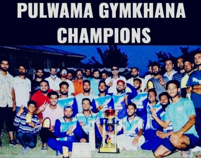 Pulwama Gymkhana lifts Unity T20 knockout cup. Pic/KSW