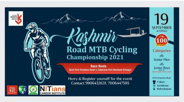Kashmir Road MTB cycling championship on September 19. Pic/Graphics KSW