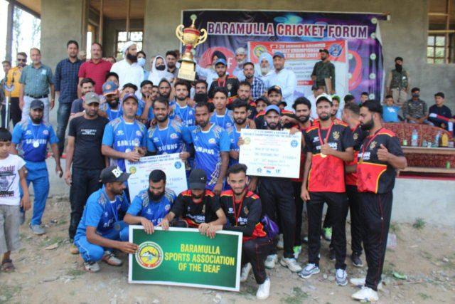 Deaf Reds North win T20 J&K cricket championship for Deaf. Pic/KSW