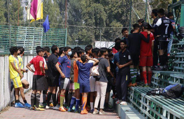 Huge response to Real Kashmir FC U-18 trials in Srinagar. Pic/KSW