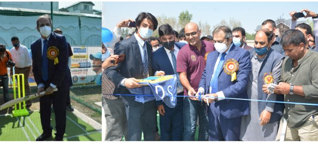 MS Dhoni Cricket Academy launched in Kashmir. Pic/KSW