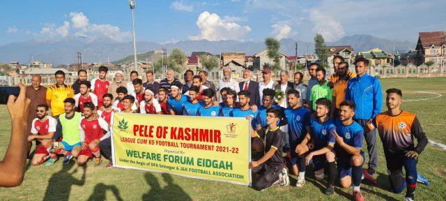 In memory of Farooq Ahmad , Pele of Kashmir football tournament kicks off in Srinagar. Pic/KSW